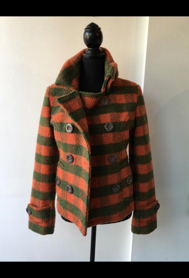 Wool Jacket Short - Green & Orange