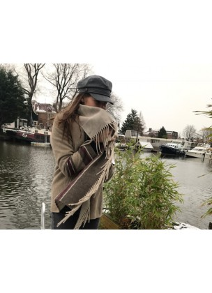 Fringe jacket dark beige