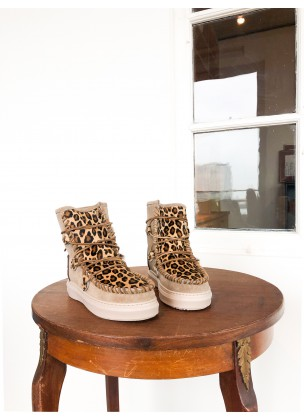 Ymiz M Leopard - Taupe (sheepskin)
