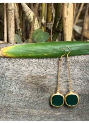 Green agata earrings
