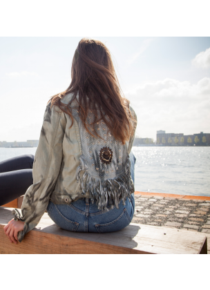 Jacket stelle denim studs and fringes