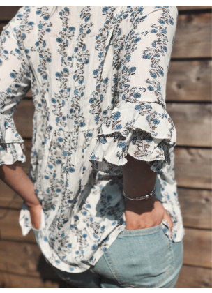 White Blue Daisy Blouse